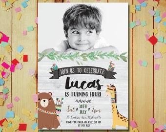 Boy birthday invitation, woodland birthday invitation, boy photo birthday invitation, cute boy birthday invitation, digital invitation (041)