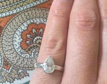 Stirling silver pear shaped cubic zirconia ring.