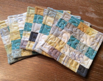 Set of 6 handmade patchwork quilted coasters in modern colors