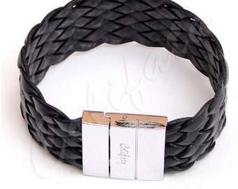 Handmade braided Leather wristband