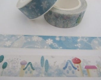 Forest houses and dreamy blue flowers cute kawaii kitsch washi sticky masking deco tape set of 2