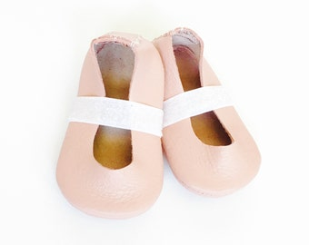 Blush Pink Leather Flats