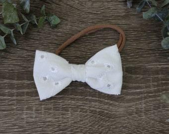 White Eyelet Bow Headband