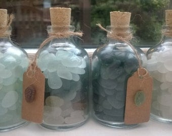 Minature Glass Bottle filled with Genuine English Seaham Seaglass