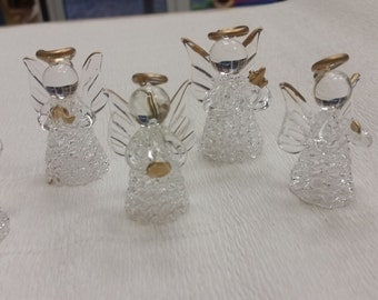 Set of 6 glass angels, Christmas glass angels, Handblown Glass Angel Christmas Ornament