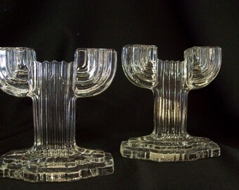 """Hocking Glass Company """"Queen Mary"""" Candle Holders 1930 - 1940"""