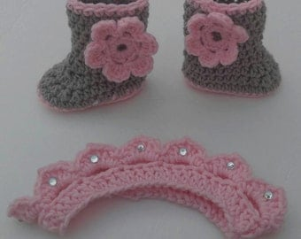 Pink and Gray Crochet Bootie and Tiara Set