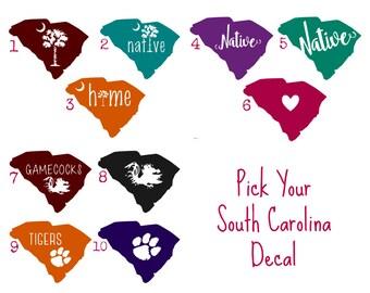 South Carolina Native Decal - South Carolina Car Decal - SC Yeti Decal -  Clemson Decal - Glitter SC Decal - Palmetto Decal - USC Decal