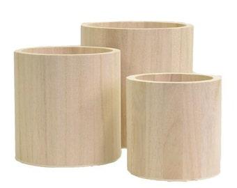 Set of 3 jars round - Support to decorate wooden - Cache Pot - Vase round