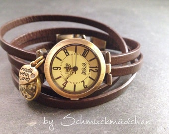 Watch bracelet bronze Brown flower white