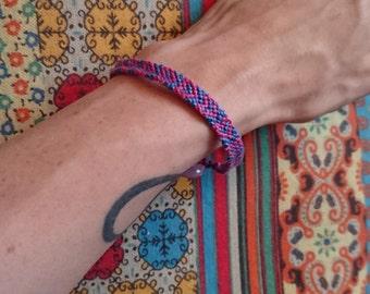 Heart Design Friendship Bracelet with Button Fastening