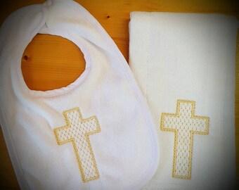 Baptismal bib, baptismal burp cloth, baptismal set, baptismal gift, baptism gift, baptism bib, baptism burp cloth, baptism set, baby gift