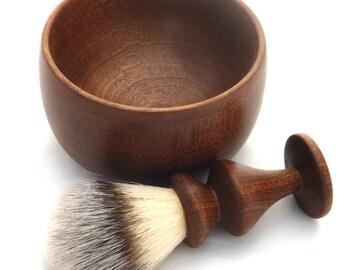 Handmade Wooden Shaving Brush and Shaving Bowl Set - Mahogany