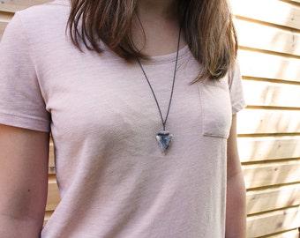 Stone Arrowhead Necklace, Boho Arrowhead Pendant, Arrow Pendant, Arrow Necklace, Tribal Necklaces
