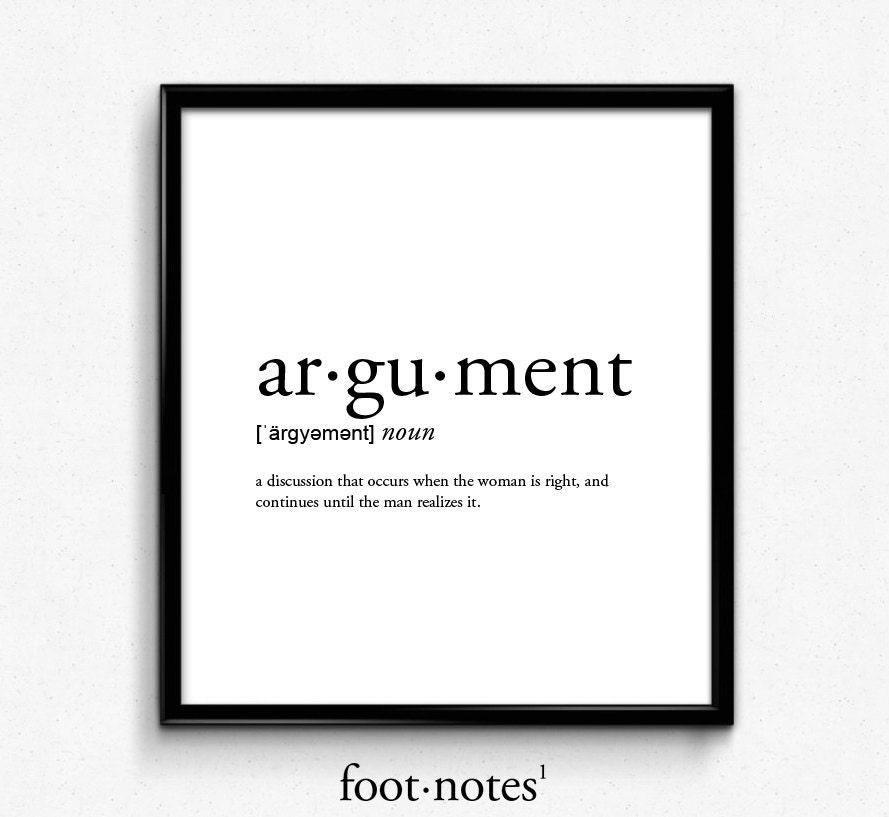 Argument definition dictionary art print office decor for Define minimalist