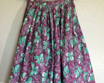 1950's Watercolor Butterfly Skirt