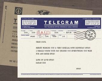 Personalised Telegram with Envelope - Birthdays, Greetings Telegram