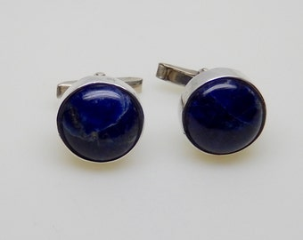 Men's Sterling and Sodalite Cufflinks. Mexican Silver Cuff links. Give Dad a gift with style!