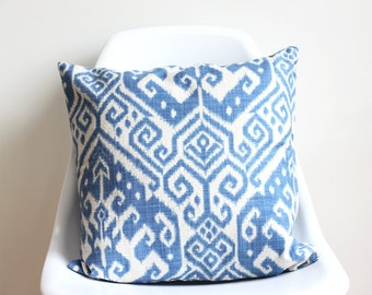 Tidal | cushion cover | 42cm x 42cm | sky blue and white, aztec pattern