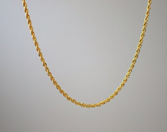 18k Yellow Gold Filled Rope Snake Chain Necklace Pendant 22""
