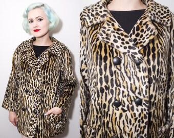 Vintage 1960's SAFARI Faux Fur Leopard Print Double Breasted Coat | Size Medium