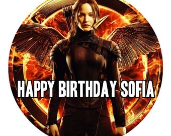 """HUNGER GAMES Katniss 8"""" Circle Round Edible Frosting Icing Sheet Cake Topper Customized Personalized Birthday Party Custom Decoration"""