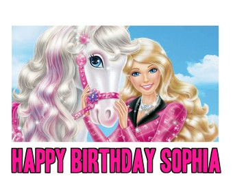 BARBIE  1/4 Edible Frosting Icing Sheet Cake Topper Image Customized Personalized Birthday 1st Party Custom Decoration