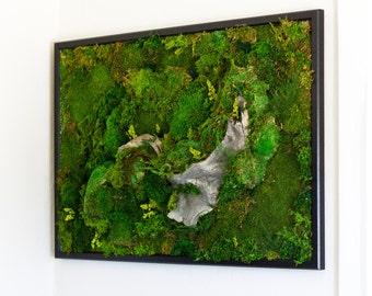"""Moss Wall Art ~ Moss Art Work ~ REAL Preserved Moss ~ No Maintenance Required ~ 37""""x25"""" ~ """"Seychelles"""""""