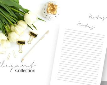 Notes Printable, Notes Insert, To Do List, Notepaper, Desk Planner, Notepad, Printable Planner, Planner Agenda, A5 Inserts, Filofax, Kikki K