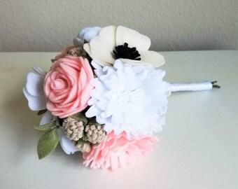 Customizable Pink and White Felt Wedding Bouquet / Felt Flower Bouquet / Bridal Bouquet