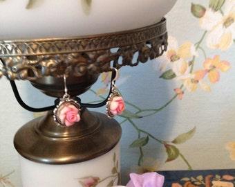 Pink rose dangle earrings