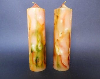 Handmade Candle, Pillar Candle, Marbled Candle, Unscented  Candle, Yellow Candle