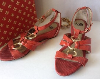 Shoes, Sofft, size 9M, red sandles, open toe flats,