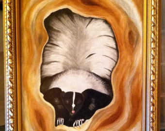 Framed painting of a Skunk peeking out of a tree hole on porcelain tile