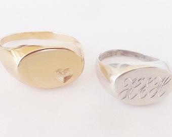 On SALE 40% - Mens Signet Ring - Signet Ring for mens - Gold Signet Ring - Silver Signet Ring - Women Signet Ring - Signet Ring for Women
