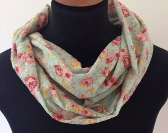 Sea Green Floral Infinity Scarf / Cotton Pique / Single Double Loop / Textured / Lightweight / Breathable / Summer