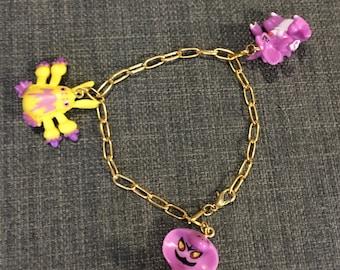 Gold Pokemon Charm Bracelet