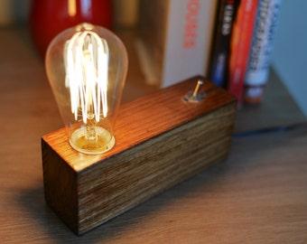 Handmade Edison Wood Lamp,Table lamp, Desk lamp, Wooden Lamp,retro lamp,Steampunk lamp,gift