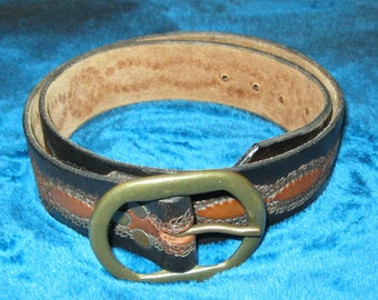 Tooled BROWN LEATHER BELT
