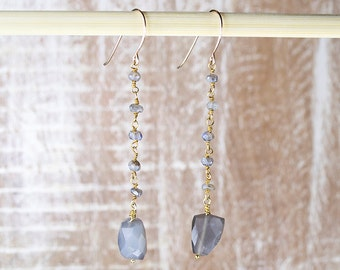 Labradorite Earrings/Labradorite earrings with Labradorite Rosary chain/Dangling Labradorite Earrings