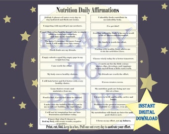 Nutrition Daily Affirmations Single Printable Sheet Black White 8 1/2X11 JPEG Healthy Eating Wellness Metabolism Weight Control Tools Tags