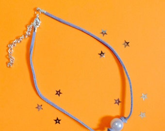 Assorted colored Suede Pearl Choker