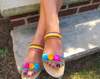 "Handmade Greek Platform sandals, ethnic fabrics and pom  pom's   ""MALDIVES"""