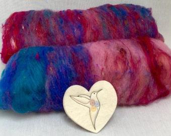 """Type Batt """"Flamingo"""" from Merino, mulberry silk sari silk and Angelina 100 g"""
