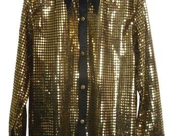 Children's Gold/Black sequin style shirt. Ideal for parties, fancy dress, stage, performance wear. Or just for fun.