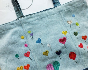 Blue denim bag with embroidery/ Tote bag/ Eco-friendly large bag/ Denim School Bag/ Beach tote bag