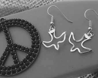 Peace Doves Sterling Silver Earrings