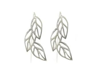 Round Leaf Earrings, Leaf Earring, Jewelry Earring, Leaf jewelry, 925 silver Earrings, everyday Earrings, silver Leaf, dangle, silver dangle