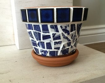 Handmade Vintage Style Mosaic Plant Pot and Saucer
