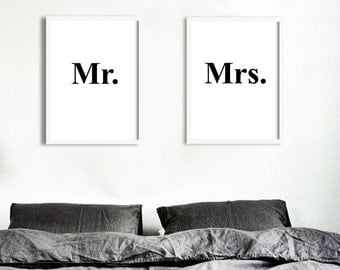Poster poster 'Mr & Mrs', posters sold by two, original decoration for the House.